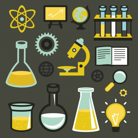 Vector flat icons and sign - science and education - test tubes and chemistry elements Vector