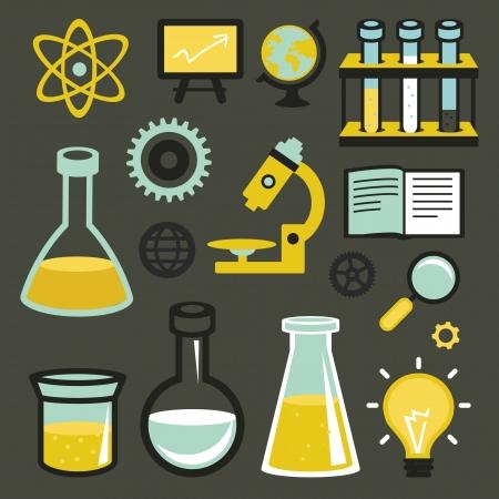 Vector platte iconen en teken - wetenschap en onderwijs - reageerbuizen en scheikunde elementen
