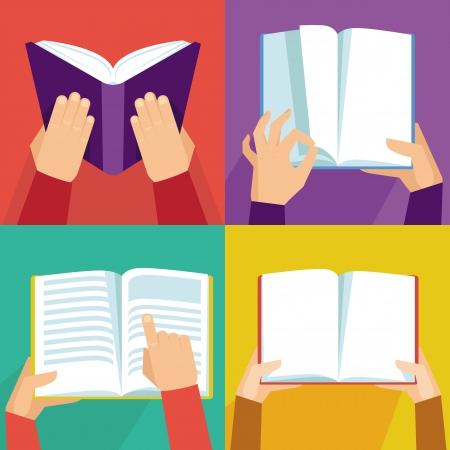 書籍 - 平らなレトロなスタイルのアイコンを持っている手のベクトルを設定