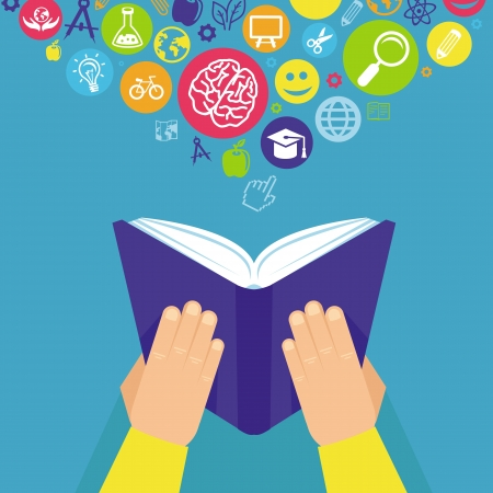 estudiar: Concepto de educación Vector - mano que sostiene el libro y los iconos de estilo retro plana Vectores