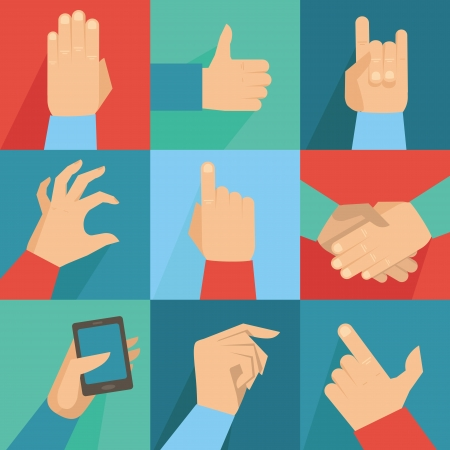 gripping: Vector set of hands and gestures in flat retro style