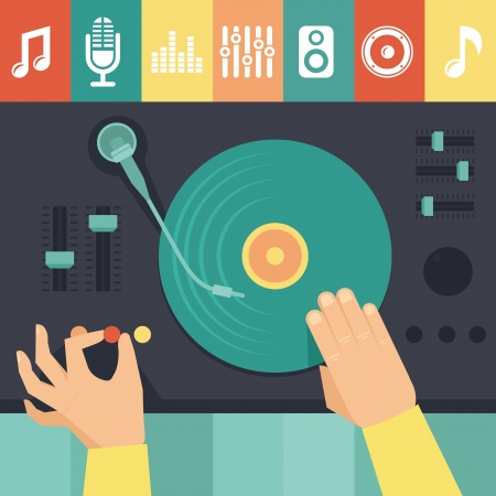 Vector turntable and dj hands - music concept in flat retro style