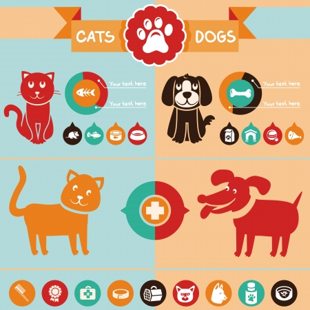 Vector set of infographics design elements - dogs and cats in flat style Ilustração