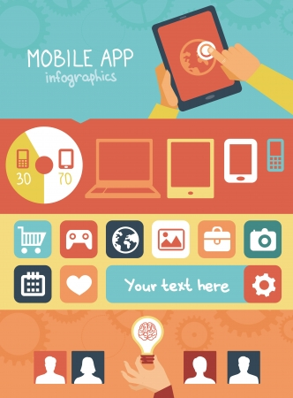 mobile app: Vector concept - mobile app development infographics in flat style with social media and technology icons