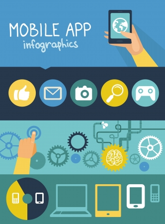 Vector concept - mobile app development infographics in flat style with social media and technology icons Vector
