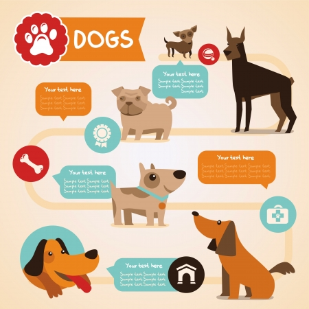 perro caricatura: Vector conjunto de infograf�as elementos de dise�o - Se admiten perros y animales dom�sticos en estilo plano Vectores