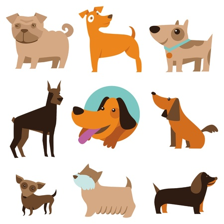 cute: Conjunto de vectores de perros divertidos dibujos animados - ilustración en estilo plano Vectores