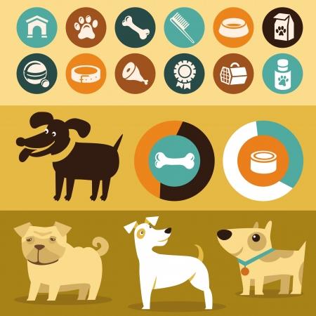 ベクトルのインフォ グラフィックのセット デザイン要素 - 犬およびペット フラット スタイルで