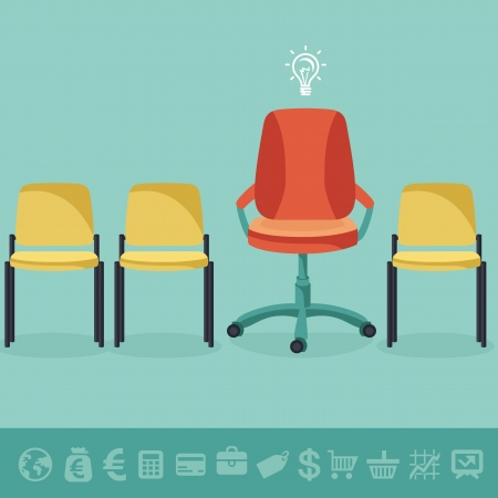 Vector office concept - office chairs in flat retro style and business icons Stock Vector - 21701601