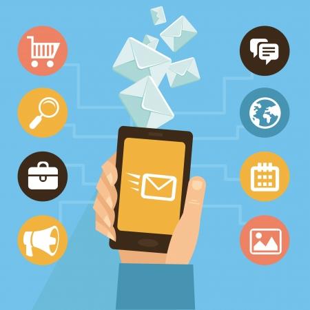 フラット スタイルのベクトル - eamil のマーケティングとプロモーション - 携帯電話アプリ インフォ グラフィック