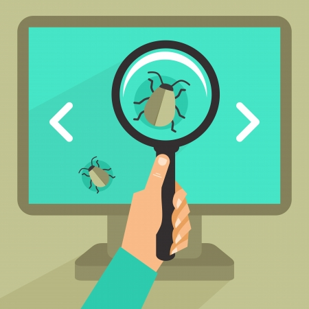 programming code: Vector concept in flat retro style - bug and virus in the programming code