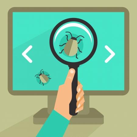 zvětšovací sklo: Vector pojetí v bytě retro stylu - chyba a virus v programovém kódu