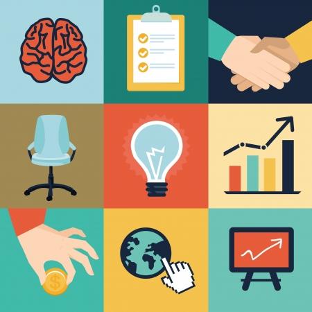 planning diagram: Vector business e le icone di ufficio e illustrazioni - start up concetto in stile retr� piatta