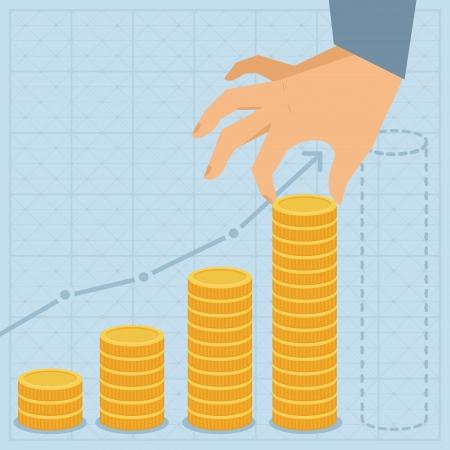 rendement: Vector financieel business plan - hand houden gouden munt in flat retro stijl