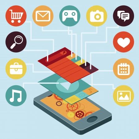 インターフェイス画面 - 平らなレトロなスタイルのインフォ グラフィック デザイン要素を持つベクトル携帯電話