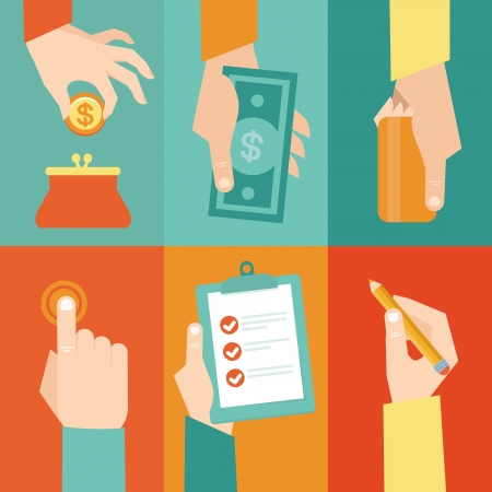 Vector set of hands - clients purchasing work in flat retro style Stock Vector - 21703329