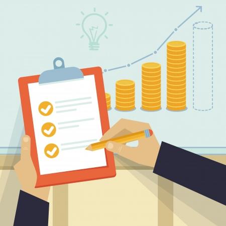 rendement: Vector financieel business plan - hand houden verslag en gouden munten in platte retro stijl
