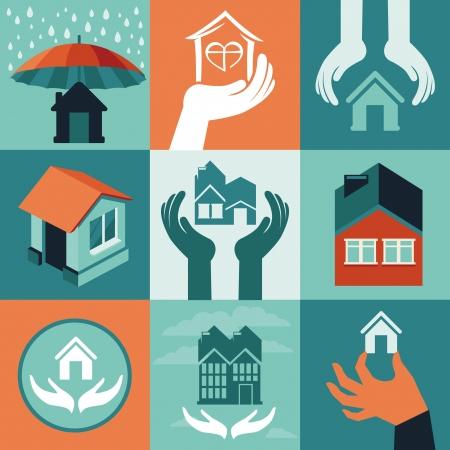 Vector assurance habitation - ensemble d'icônes plates et bannières Vecteurs