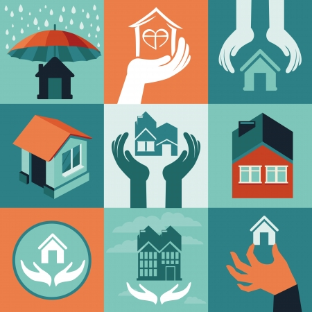 house in hand: Vector house insurance - set of flat icons and banners