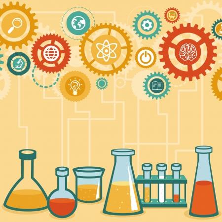 フラット スタイルのインフォ グラフィックのベクター コンセプト - 化学と科学研究 - デザイン要素  イラスト・ベクター素材