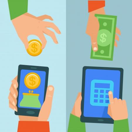 phone money: Vector concepto de banca en l�nea - pagar y recibir dinero a trav�s de tel�fono m�vil Vectores