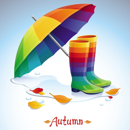 Vector bright autumn background - rainbow boots, umbrella and leaves Illustration
