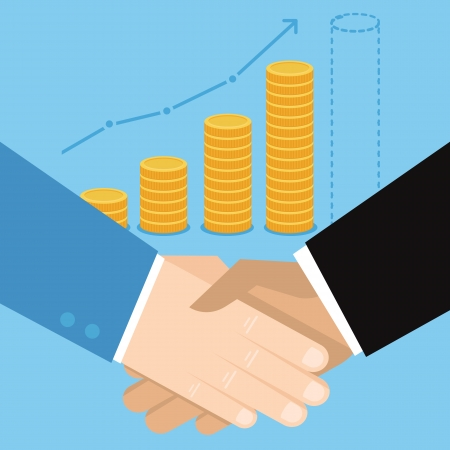 Vector business concept in flat style - hand shake and coins Çizim