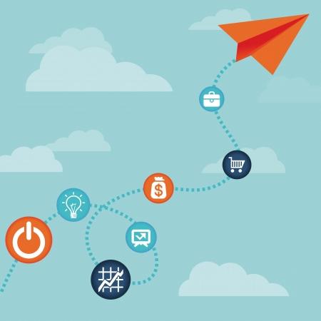 kavram: Vektör iş kavramı uçan kağıt uçak ve finans simgeleri