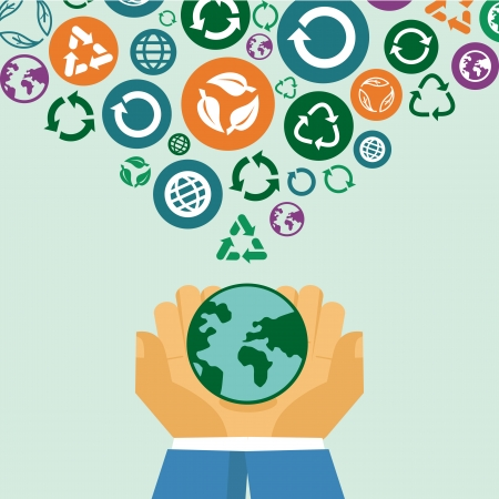 Vector ecology concept - human hands holding globe with recycle signs and symbols Vector