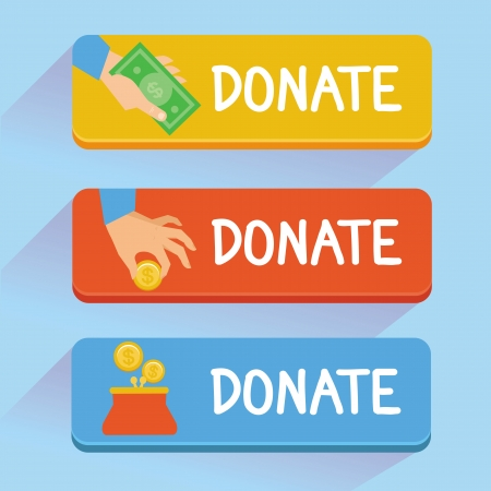 coin purses: Vector donate concept - hand and money - set of buttons in flat style Illustration