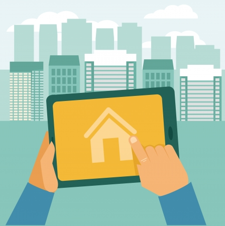 home search: Vector real estate concept - searching house for rent - icon in flat style