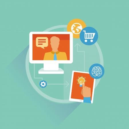 programmer computer: Vector freelance work progress - job inquiry, payment and development icons