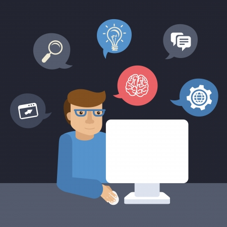 caricaturas de personas: Vector de dibujos animados programador que trabaja en su computadora en estilo plano