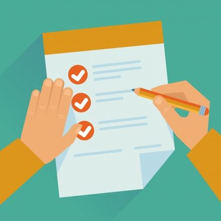 contrato de trabajo: Vector conept en estilo plano - acuerdo y manos Vectores