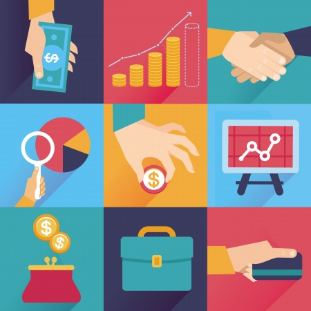 finance report: Vector icons in flat retro style - finance and business illustration