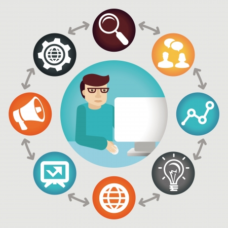 smm: Vector social media concept - project manager - icons and concept