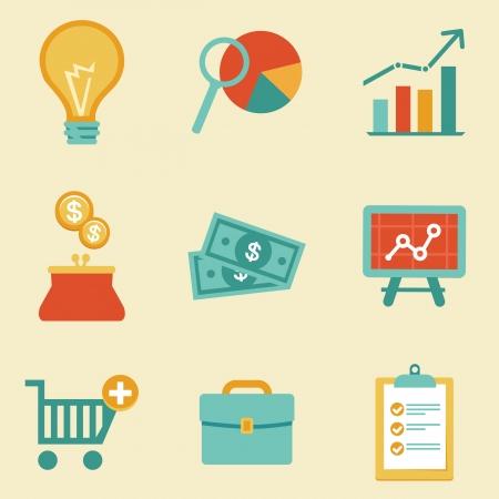 Iconos vectoriales en estilo plano retro - ilustración de negocios y finanzas