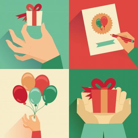 globos de cumpleaños: Vector conjunto de la tarjeta de felicitación en estilo retro plana Vectores