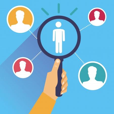 ressources humaines: Vecteur aux ressources humaines - main tenant une loupe dans le style r�tro plat Illustration