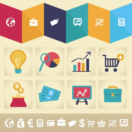 wages: Vector icons and infographic design element in flat retro style - finance and business illustration