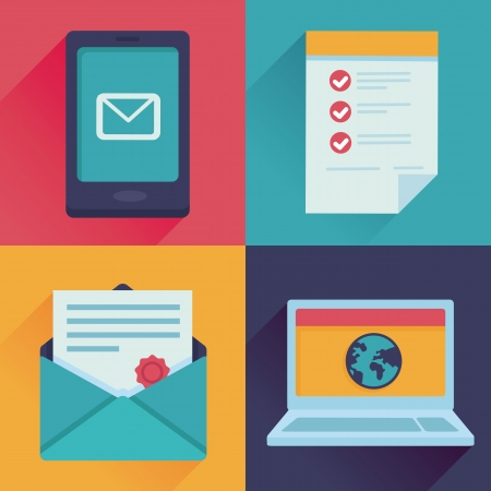 e work: Vector communication icons in flat retro style - mail, message, contract, website adress