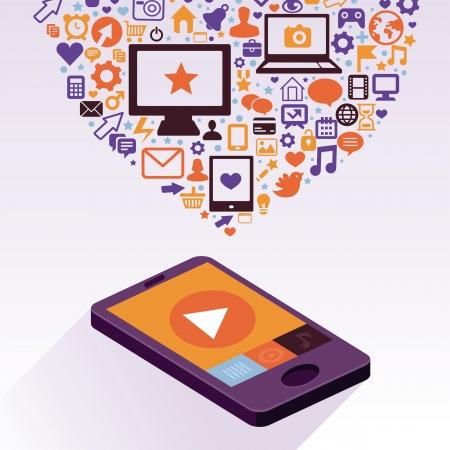 �cran plat: Vecteur t�l�phone mobile avec des ic�nes app - �l�ments de conception infographique dans le style r�tro plat