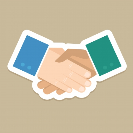 Vector business concept - handshake in flat style 向量圖像