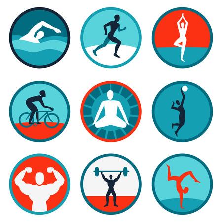 Vector fitness iconen en tekens - joggen, zwemmen