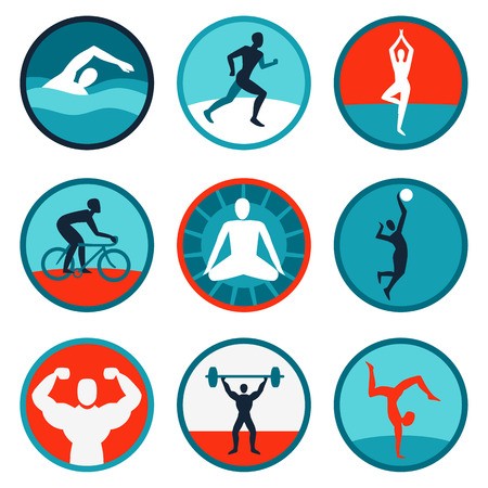 healthy exercise: Vector fitness icons and signs - jogging, swimming