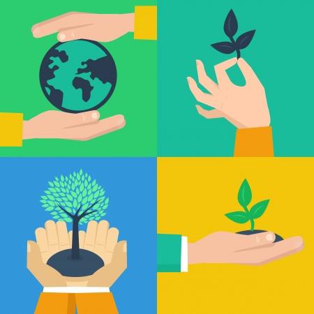 crecimiento planta: Vector conjunto de conceptos de la ecolog�a - manos sosteniendo brotes en estilo retro plana