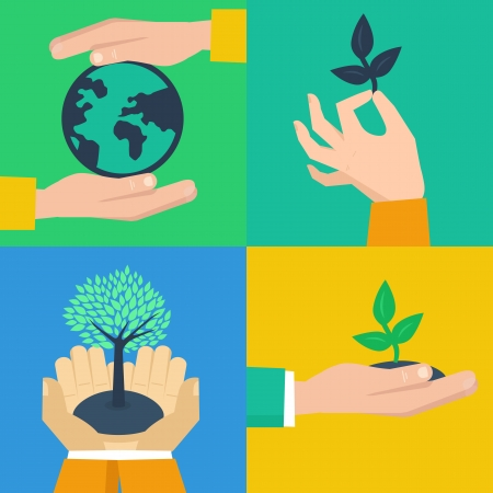 plant hand: Vector set of ecology concepts - hands holding sprouts in flat retro style Illustration