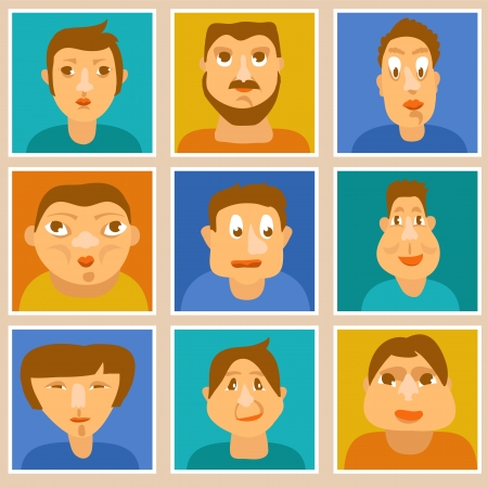 funny guys: Vector set of vector avatars - different characters