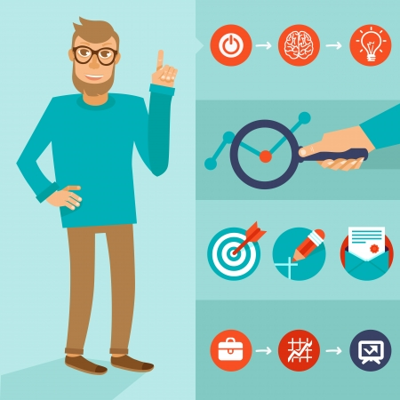 entrepreneur: Vector character in flat style - smart man with idea - infographic elements