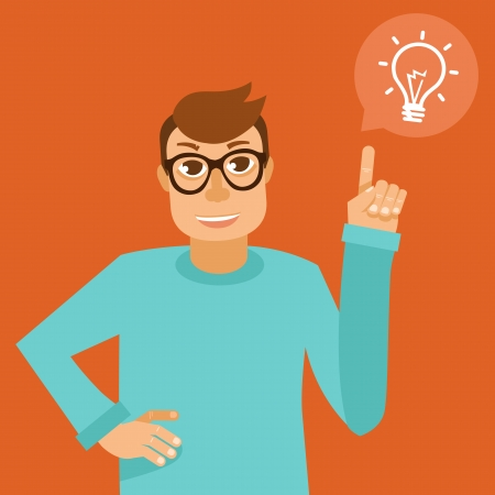 smart boy: Vector character in flat style - smart man with idea - funny programmer